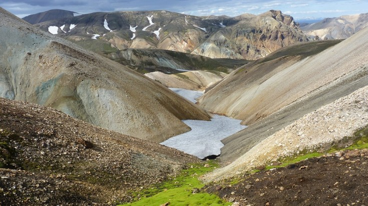 The Landmannalaugar in Iceland has a rugged landscape.