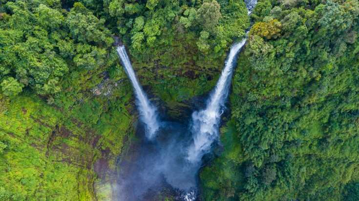 Aerial view of Tad Fane waterfall