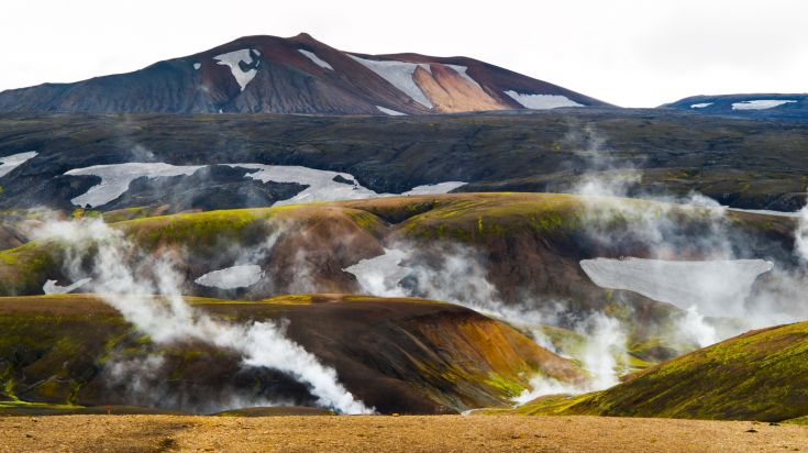 Laugavegur Trail in Iceland has numerous hot spots for hot springs