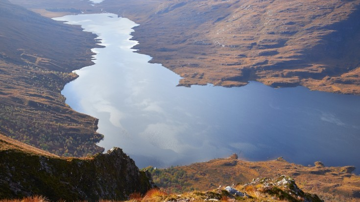 This popular Scottish trail takes you along the shores of Loch Damh and then up Beinn Damh for a tricky ascent and beautiful views of the Torridon mountains and sea