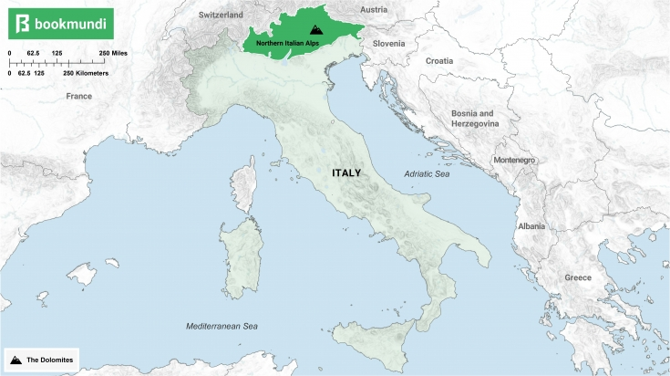 An overview of the Dolomites.