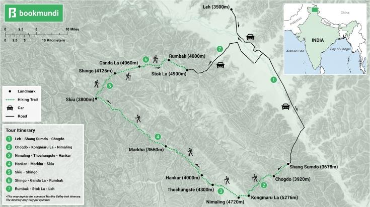 Markha Valley Trek map