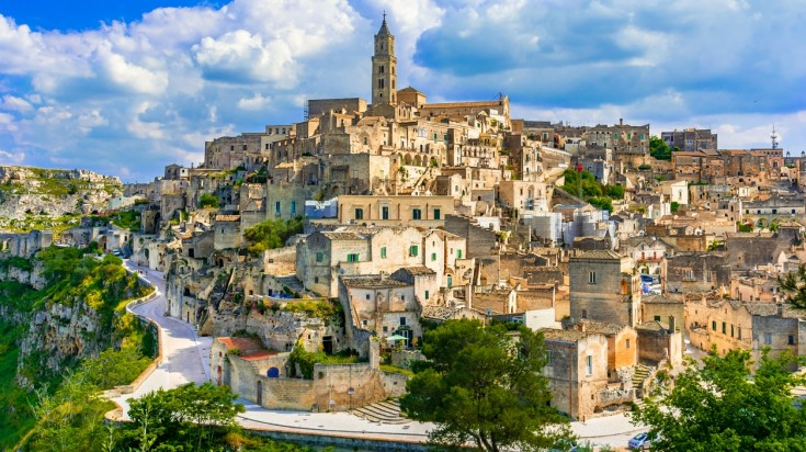 Matera is located in Basilicata and lies on a small canyon of Gravina river