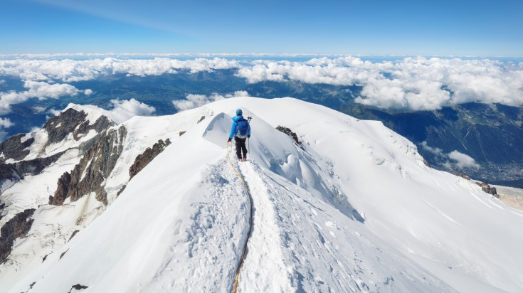 Rising above 4,808 m, Mont Blanc is the tallest mountain in the Alps.