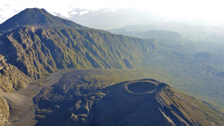 Aerial view of Mount Meru
