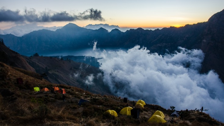 Sunsets from the Mount Rinjani trekking trail are breathtaking