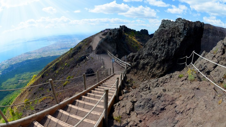Mount Vesuvius offers an amazing panoramic view from the top.