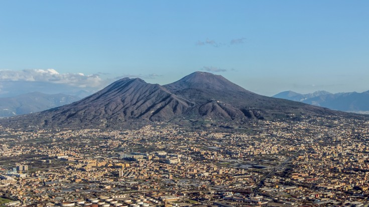 Mount Vesuvius is a very famous skyline in Naples