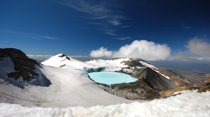 Mt Ruapehu, an active volcano in New Zealand is a top hiking destination.