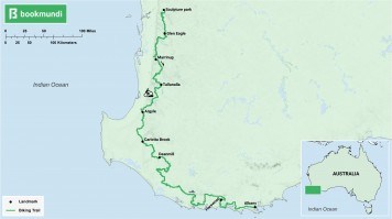 An overview map of the biking trail in Munda Biddi, Australia