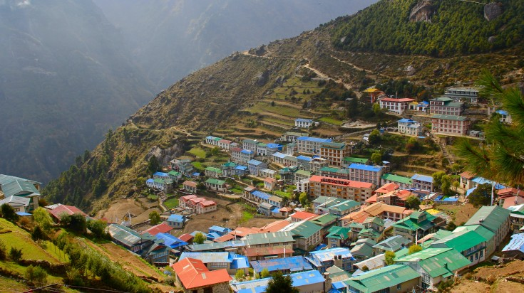 Namche Bazaar is the market town on the way to Everest Base Camp.