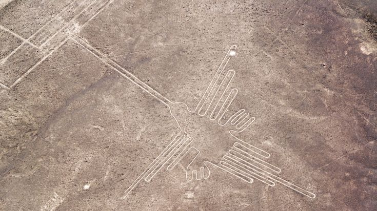 Nazca Lines giant ancient line art drawn in the Peruvian desert