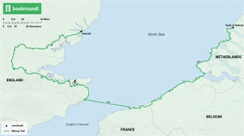 An overview map of North Sea Cycle Route