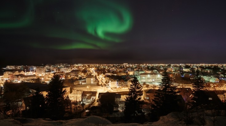 The Northern Lights seen from Reykjavik