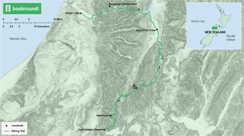 An overview of the biking trail in the old ghost road, New Zealand.