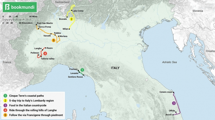 An overview map of 7-day itineraries for Italy