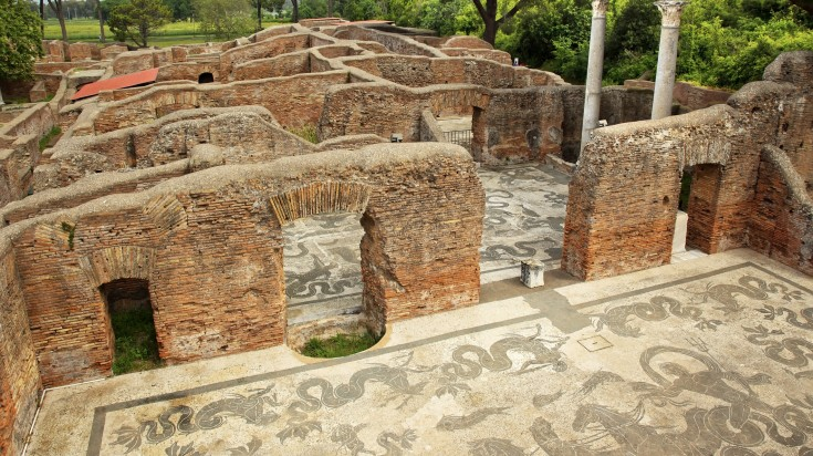 Archaeological excavation in Ostia Antica