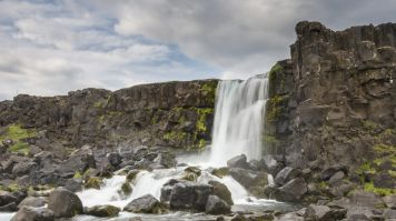 Thingvellir national park is home to the Oxararfoss waterfall