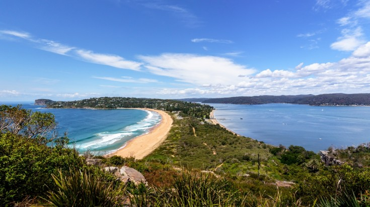 Palm beach for surfing in Australia