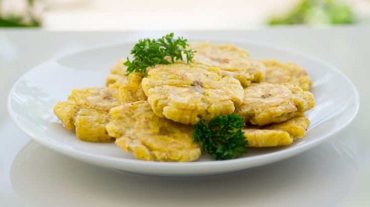 Patacones are a crispy snack that can be eaten on its own.