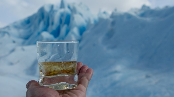 A glass of whiskey at Perito Moreno Glacier