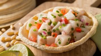 Fresh fish, veggies and lemon, makes Ceviche