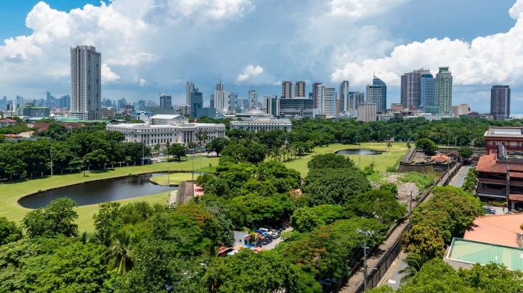 The urban skyline of Manila