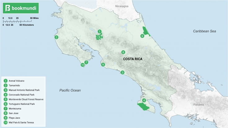 Places to go in Costa Rica map