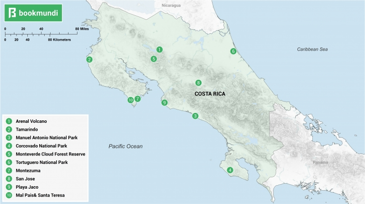 A map showing the best places to visit in Costa Rica