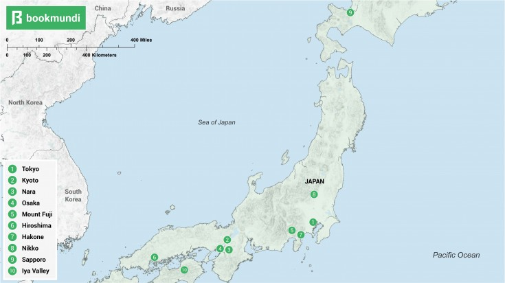 An over view map of the best places to visit in Japan