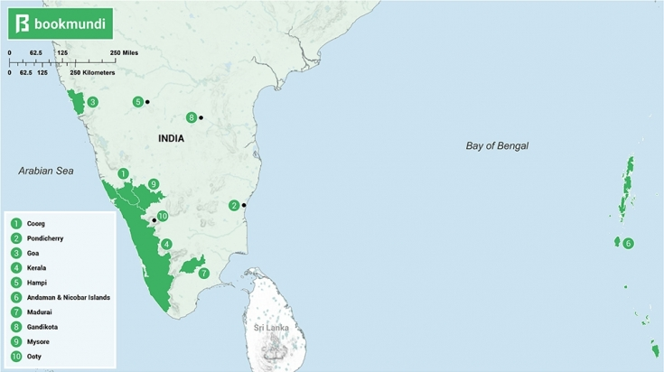 Places to visit in South India Map