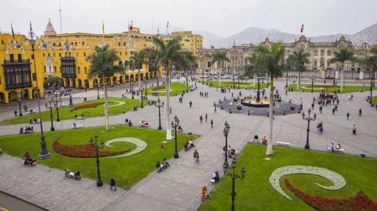 The Plaza de Armas is the birthplace of the city of Lima