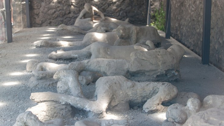 The plaster casts of victims of Pompeii