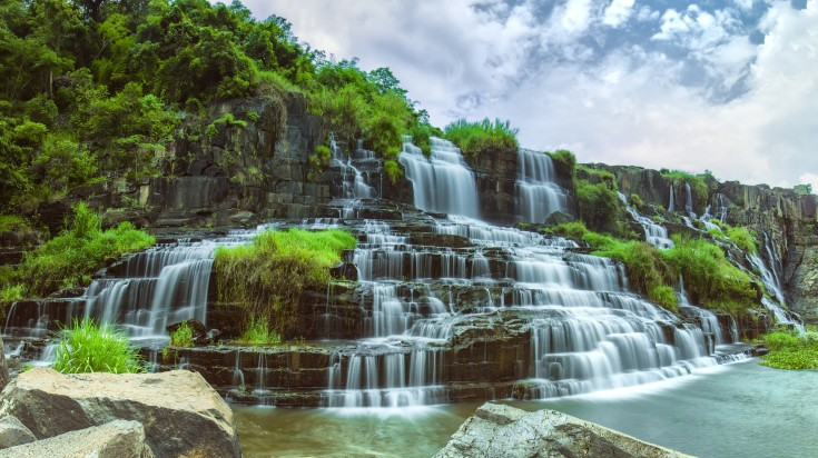 Pongour waterfall in Dalat Vietnam is located at a deserted area