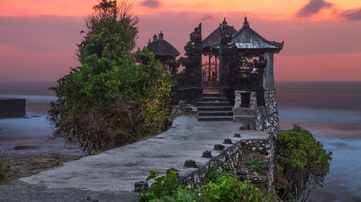 Pura Tanah Lot is a great location to witness Bali's famous sunsets.