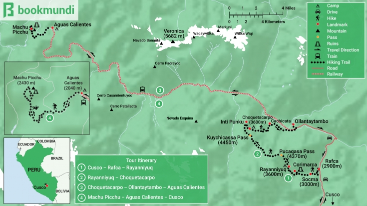 Map of Quarry Trail to Machu Picchu