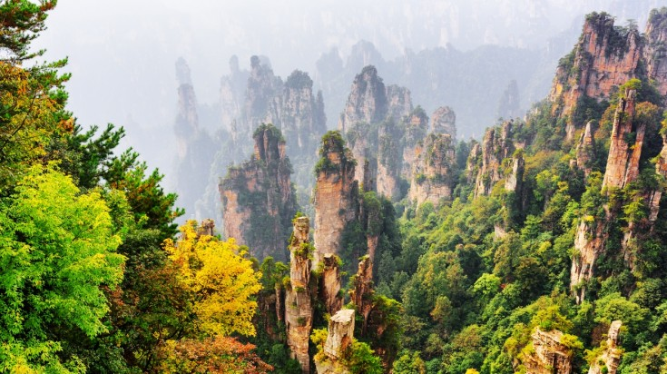 Awe-inspiring view of natural quartz sandstone pillars in Tianzi Mountains