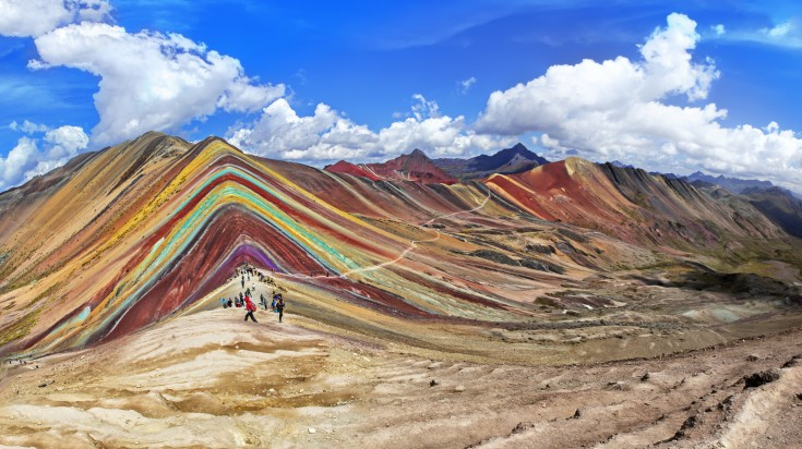 Located in Cusco, Vinicunca is also known as the Rainbow Mountain.