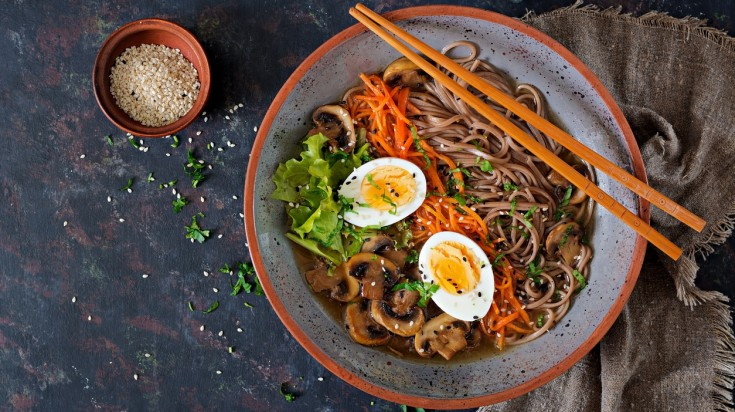 Ramen consists of wheat noodles served with meat broth and other toppings.