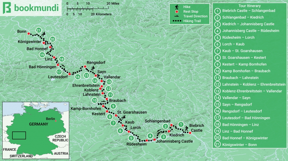 Rudesheim Germany Map.Rheinsteig Hiking Trail In Germany A Complete Guide Bookmundi