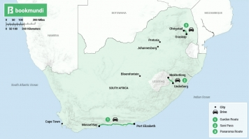 Road trip in South Africa map