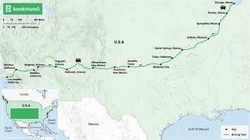 US Route 66 road trip map
