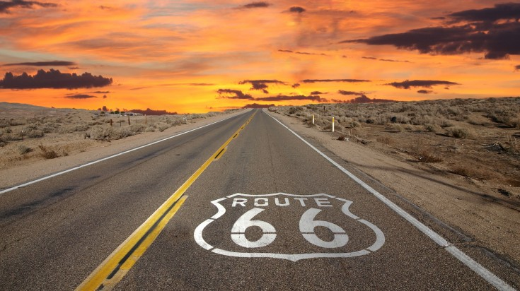Route 66 is a highway in the USA that goes past 8 states and 3 time zones.