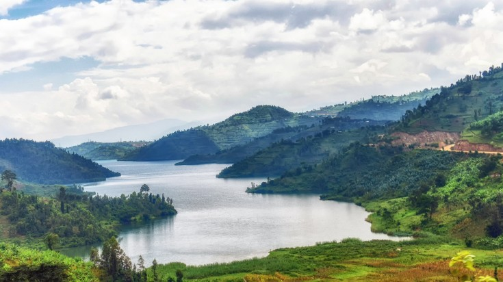 One of the largest African lakes - Lake Kivu in Rwanda