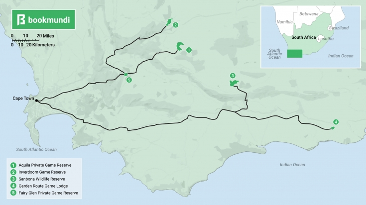 Map of safari reserves near Cape Town