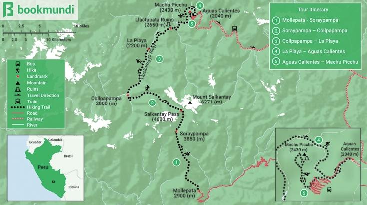 Map of Salkantay trek