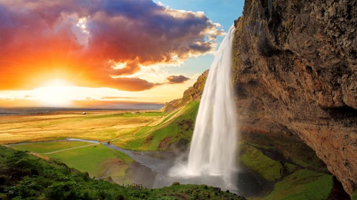Seljalandsfoss one of the best known waterfalls in Iceland