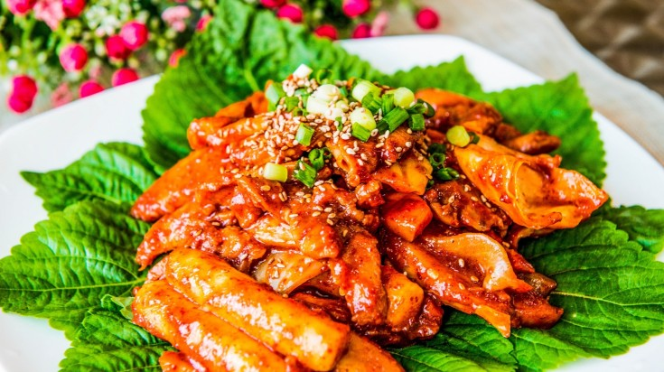 Tteokbokki is a spicy Seoul street food