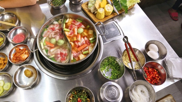 Shabu shabu is a hotpot dish of vegetables and sliced meat boiled in water.
