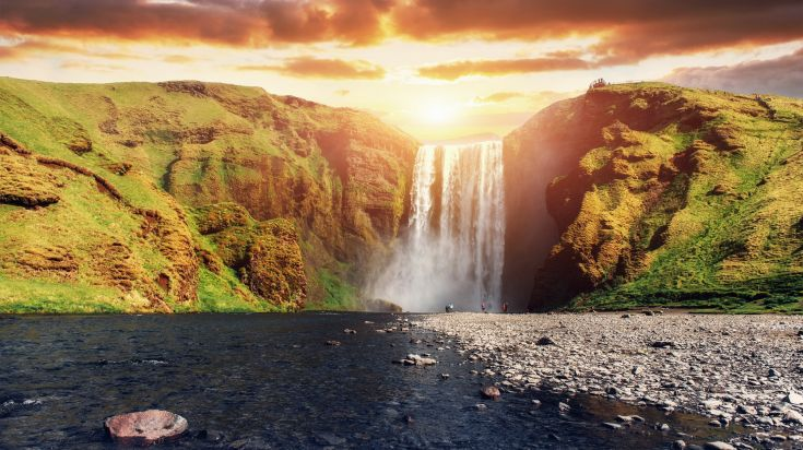 Skogafoss Waterfall, one of the five biggest waterfalls